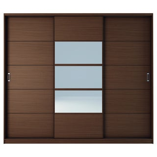 SB Manhattan Comfort Adrian 6-Drawer and 7 Shelf Sliding Door Wardrobe with Mirrors in Nut Brown