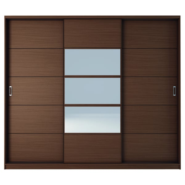 Manhattan Comfort Adrian 6-Drawer and 7 Shelf Sliding Door Wardrobe with Mirrors in Nut Brown