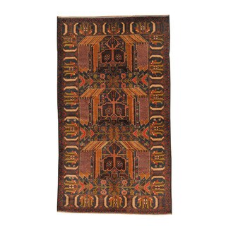 Herat Oriental Afghan Hand-knotted Semi-antique Tribal Balouchi Navy/ Black Wool Rug (3'8 x 6'6)