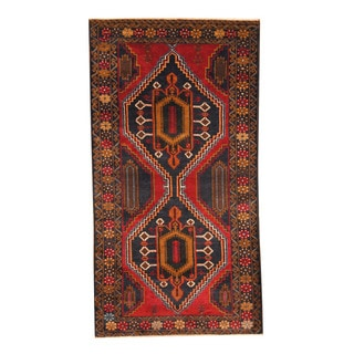 Herat Oriental Afghan Hand-knotted Semi-antique Tribal Balouchi Navy/ Red Wool Rug (3'7 x 6'10)