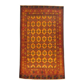 Herat Oriental Afghan Hand-knotted Semi-antique Tribal Balouchi Gold/ Red Wool Rug (3'8 x 6'3)