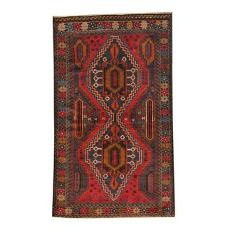Herat Oriental Afghan Hand-knotted Semi-antique Tribal Balouchi Navy/ Red Wool Rug (3'9 x 6'5)