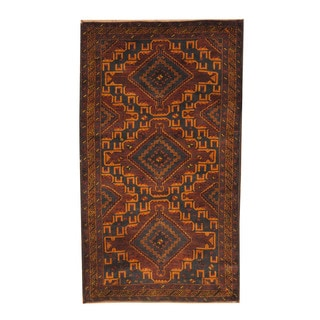 Herat Oriental Afghan Hand-knotted Semi-antique Tribal Balouchi Navy/ Gold Wool Rug (3'7 x 6'2)