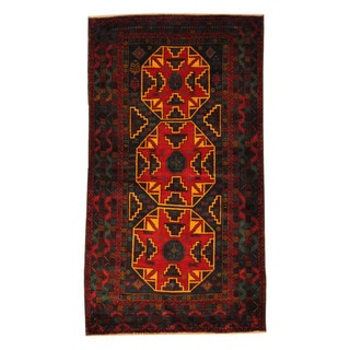 Herat Oriental Afghan Hand-knotted Semi-antique Tribal Balouchi Brown / Gold Wool Rug (4' x 7'2)