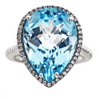 Sterling Silver Blue Topaz White Sapphire Ring