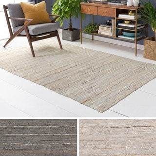Hand-Woven Chard Stripe Leather Rug (2' x 3')