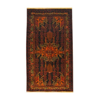 Herat Oriental Afghan Hand-knotted Semi-antique Tribal Balouchi Black/ Red Wool Rug (3'7 x 6'4)