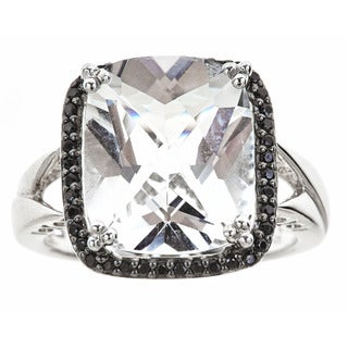 Sterling Silver White Topaz Black Onyx Ring
