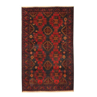 Herat Oriental Afghan Hand-knotted Semi-antique Tribal Balouchi Navy/ Red Wool Rug (3'9 x 6'2)