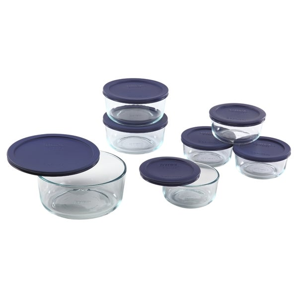 Pyrex Smply Store 14 Piece Storage Set with Blue Covers