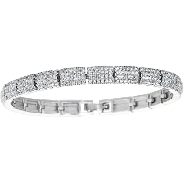 Sterling Silver Micropave 5 Row Round Cut Fancy Ladies Bangle with Cubic Zirconia