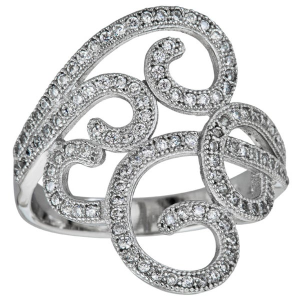 Sterling Silver Micropave Filigree with Cubic Zirconia