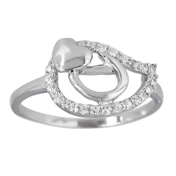 Sterling Silver Multi Shape Micropave Ladies Ring with Cubic Zirconia