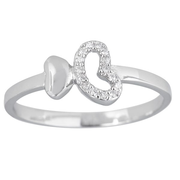 Sterling Silver 2 Hearts Micropave Ladies Ring with Cubic Zirconia