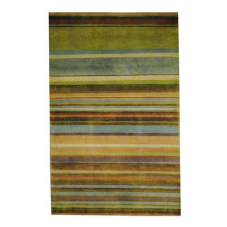 Herat Oriental Indo Hand-knotted Tribal Tibetan Multicolor/ Light Green Wool Rug (2'7 x 4')