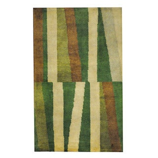 Herat Oriental Indo Hand-knotted Tribal Tibetan Multicolor/ Green Wool Rug (2'6 x 4')