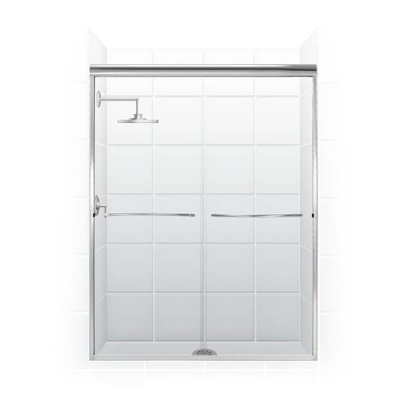 Paragon Frameless Sliding Shower Door with Radius Curved Towel Bar in Chrome and Clear Glass