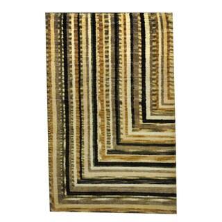 Herat Oriental Indo Hand-knotted Tribal Tibetan Beige/ Brown Wool Rug (2'6 x 4')