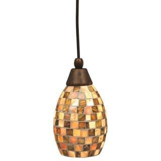 Cambridge 1-Light Bronze 9 in. Pendant with Beige Glass