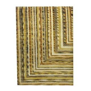 Herat Oriental Indo Hand-knotted Tribal Tibetan Beige/ Brown Wool Rug (2'7 x 3'7)