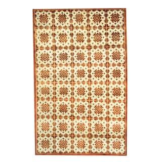 Herat Oriental Indo Hand-knotted Tribal Tibetan Ivory/ Rust Wool Rug (5' x 8')