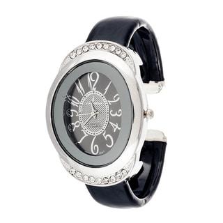 Xtreme Via Nova Women's Black Leather Bangle Silvertone Watch