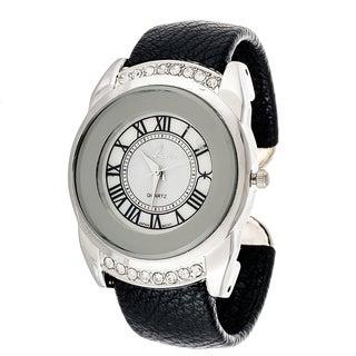Xtreme Via Nova Women's Silvertone Black Leather Bangle Watch