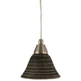 Cambridge 1-Light Brushed Nickel 7.5 in. Pendant with Charcoal Spiral Glass