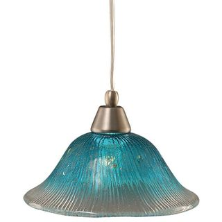 Cambridge 1-Light Brushed Nickel 8.25 in. Pendant with Teal Crystal Glass