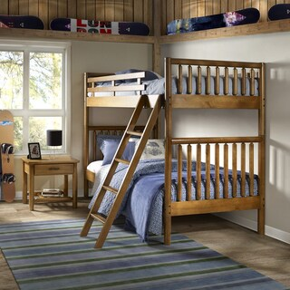 Timber Creek Twin over Twin Size Log Bunk Bed - Solid Wood - Finish Old Pine