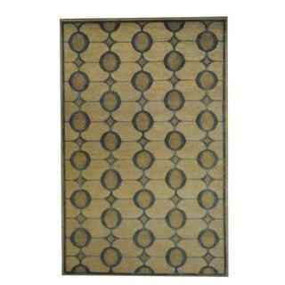 Herat Oriental Indo Hand-knotted Tribal Tibetan Beige/ Teal Wool Rug (5' x 8')