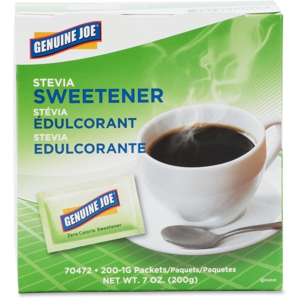 Genuine Joe Stevia Natural Sweetener Packets (Pack of 200)
