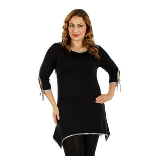 Firmiana Women's Plus Size 3/4 Sleeve Black and White Top