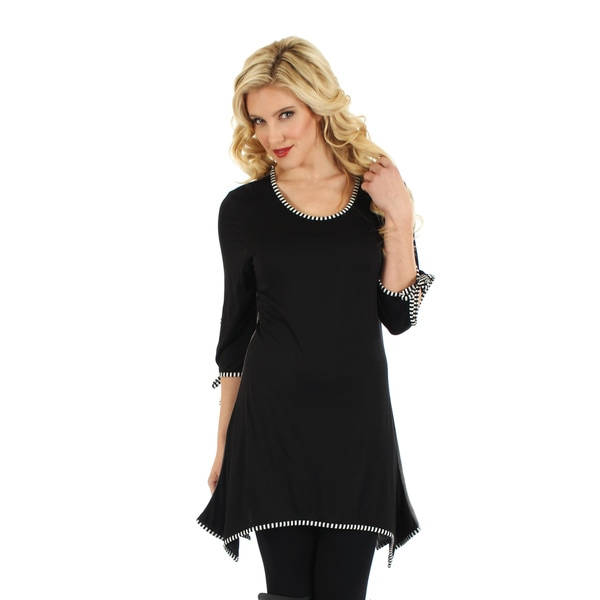 Firmiana Womans 3/4 Sleeve Black & White Top