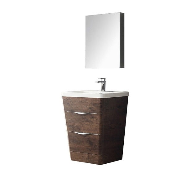 milano 26 inch rosewood modern bathroom vanity with medicine cabinet