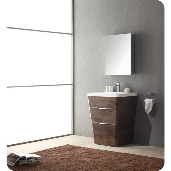 fresca milano 26 inch rosewood modern bathroom vanity with