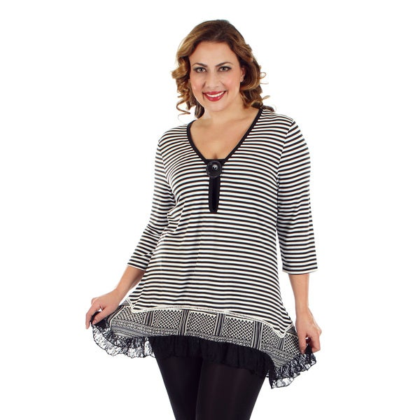 Firmiana Women's Plus Size 3/4 Sleeve Black & White Stripe Lace Top with Button-Accent