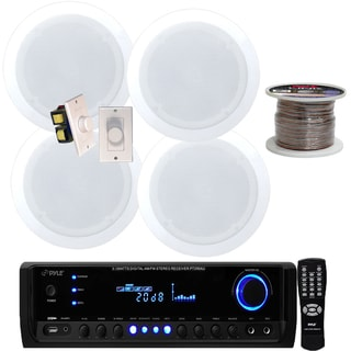 Pyle KTHSP580 200W Digital Receiver with 2 Pair 150W 5.25-inch In-ceiling Speakers/ 2 Volume Controls and 100-foot Wire
