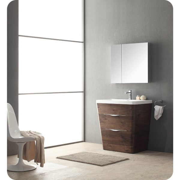 fresca 32 inch rosewood modern bathroom vanity with