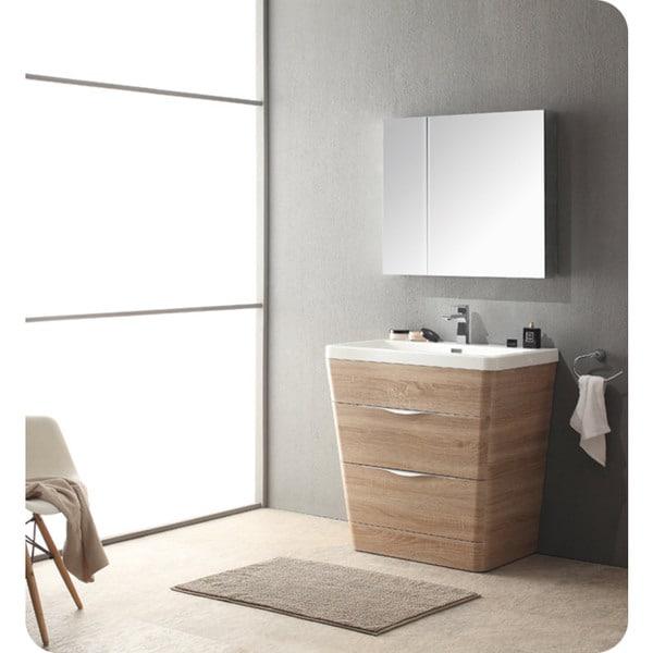 fresca 32 inch white oak modern bathroom vanity