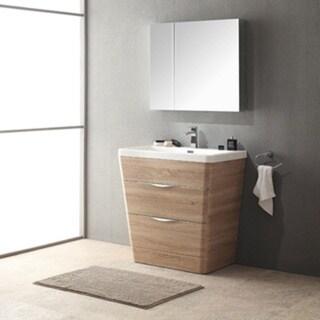 Fresca Milano 32-inch White Oak Modern Bathroom Vanity with Medicine Cabinet