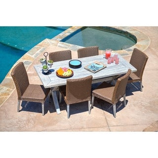 the-Hom Lindmere 7-piece Antique Grey Hard Wood/ Dark Brown All-weather Wicker Patio Dinning Set with Beige Cushions