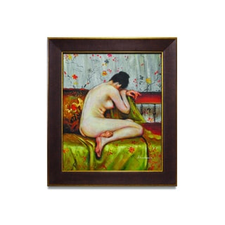 Framed fine oil painting on canvas of a beautiful back view of a nude woman