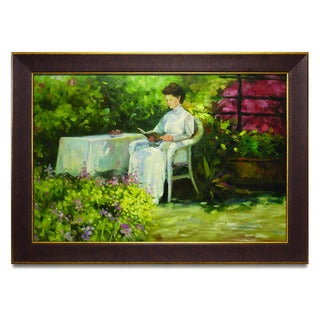 Framed Oil Painting on Canvas of Lady Reading in Garden Portrait