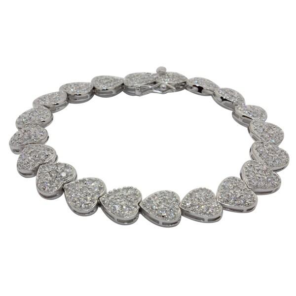 Sterling Silver Cubic Zirconia Hearts Tennis Bracelet
