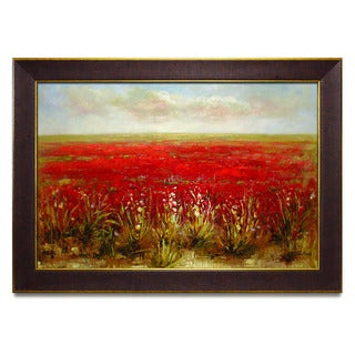 Framed Oil Painting on Canvas of Landscape Red Poppy Flower Field