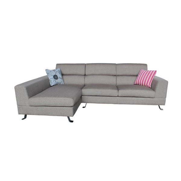the-Hom Kileen Light Grey Left-facing Chaise Linen Sofa