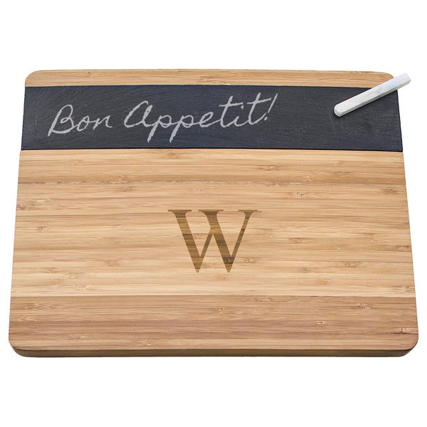 Monogrammed Bamboo and Slate Cheese Board
