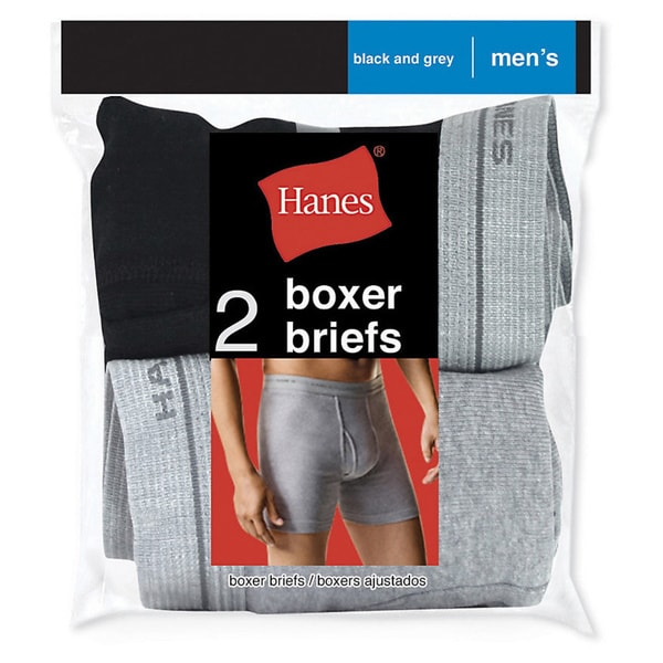 Men's Red Label Black/Grey Boxer Brief (Pack of 2)