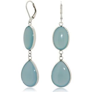 Sterling Silver Multi-shape Blue Chalcedony Dangle Earrings